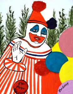Goodbye Pogo, a 16 x 20, Oil on Canvas Board, by John Wayne Gacy. Pogo was Gacy's Alter-Ego. He gave this painting to close pen-pals at the end of his life. Gacy's collection includes a variety clowns, pop culture icons, other infamous serial killers and Disney characters. The work is currently on display at The Arts Factory in Las Vegas. (Courtesy to Pioneer Press: The Arts Factory Las Vegas)